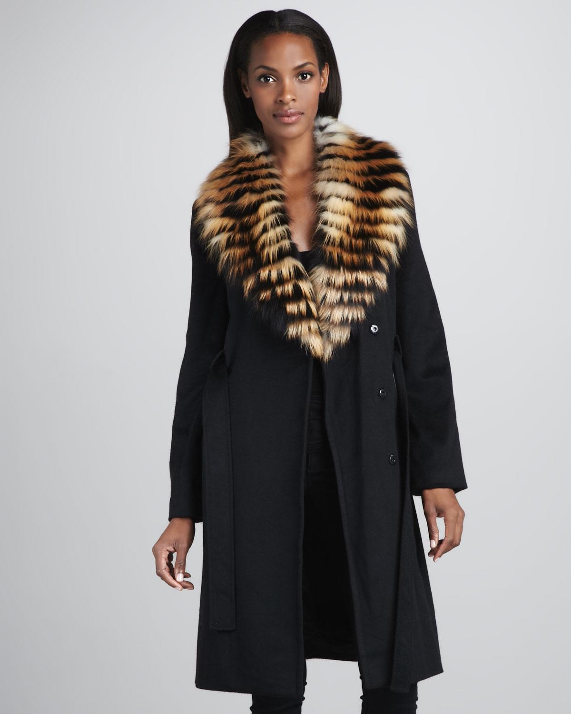 Sofia cashmere Feathered Fox Furtrim Coat in Black | Lyst