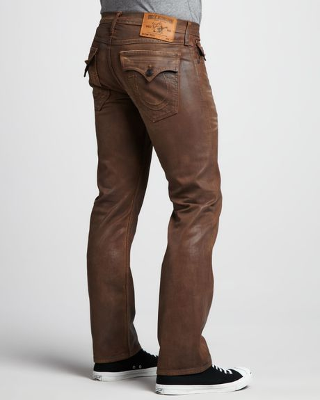 True Religion Ricky Brown Coated Jeans In Brown For Men