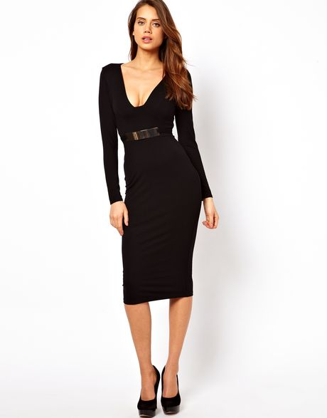 asos collection bodycon dress with gold belt in black lyst
