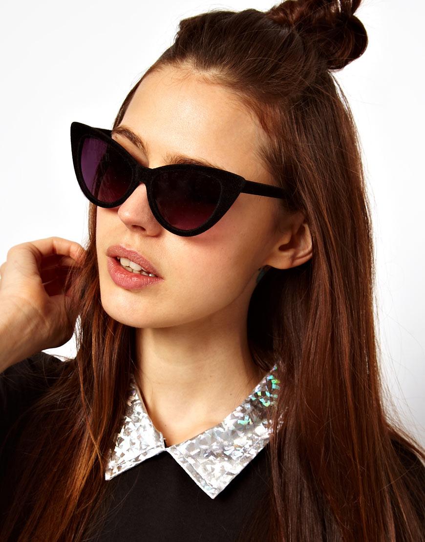 Velvet Sunglasses  asos velvet cat eye sunglasses in black lyst