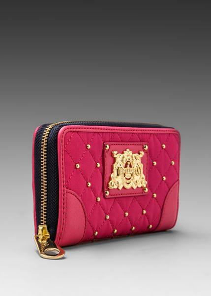 juicy couture upscale quilted nylon zip wallet in pink