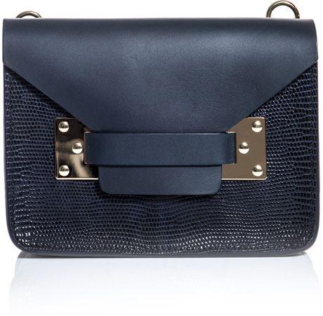 Sophie Hulme Lizard Panel Envelope Bag in Blue