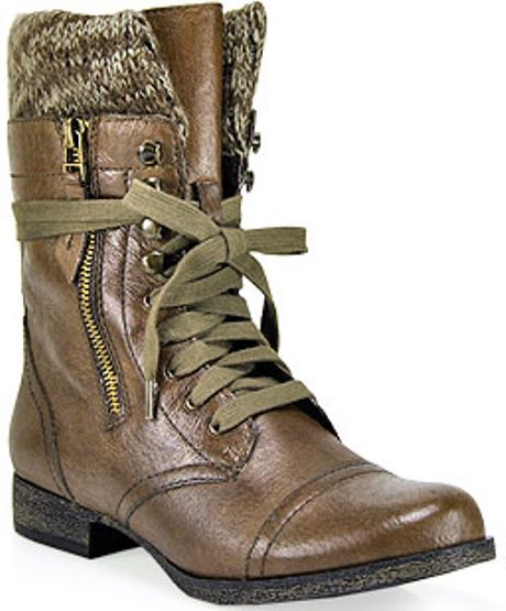 steve madden jaax brown leather combat boot in brown lyst