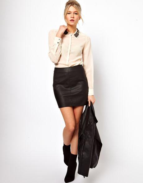 oasis leather look mini skirt in black lyst