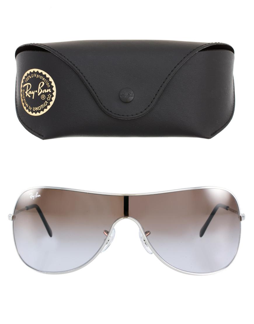 Ray Ban Silver Visor Sunglasses In Gray Lyst