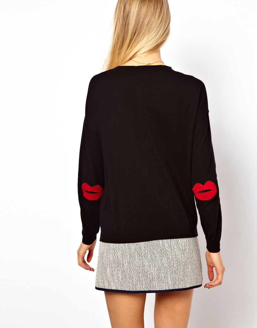 618794e9a8d Lyst - ASOS Collection Asos Jumper with Star Elbow Patches in Black
