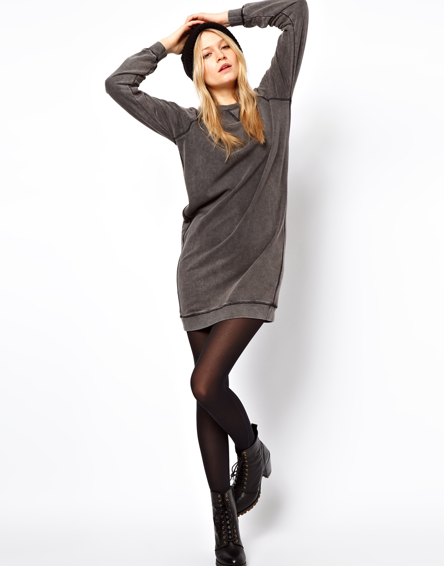 Asos collection sweat dress in acid wash in gray lyst for How to not sweat through dress shirts