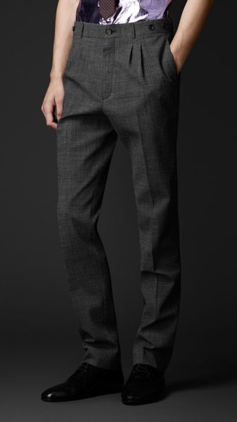 Burberry Prorsum Slim Fit Houndstooth Wool Trousers - Lyst