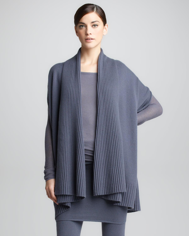 lyst donna karan ribbed draped cashmere cardigan in gray. Black Bedroom Furniture Sets. Home Design Ideas