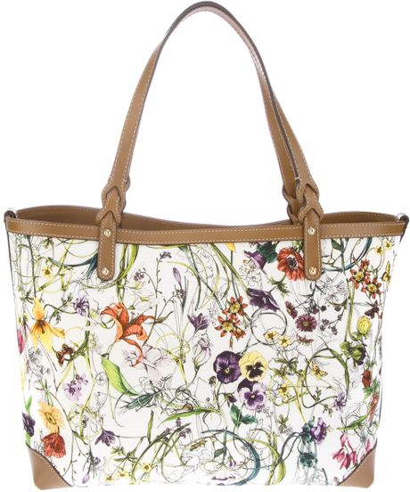 gucci floral tote bag in floral lyst