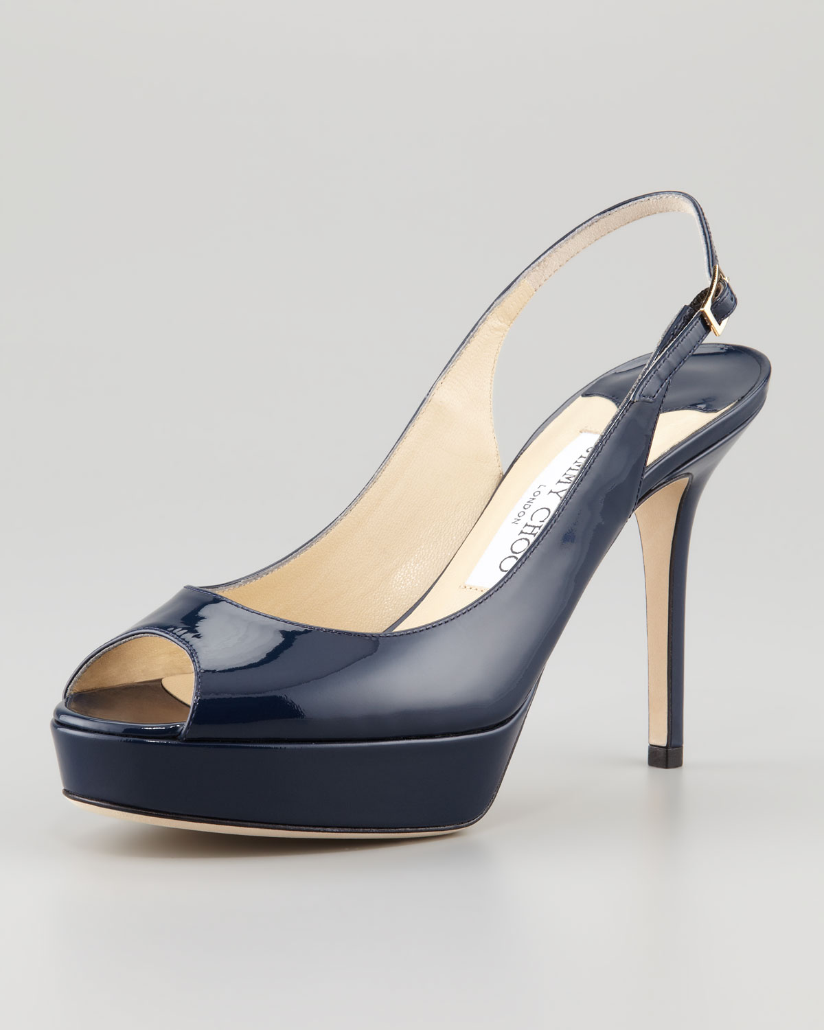 Navy Leather Slingback Shoes