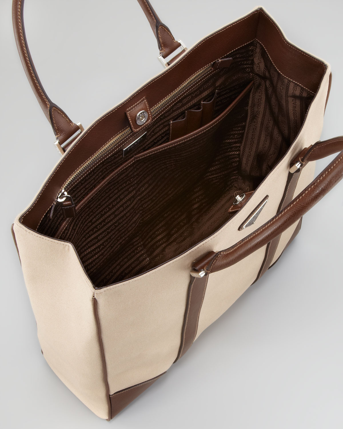 Lyst - Prada Canvas Leather Tote Bag in Natural for Men 179cd97c19