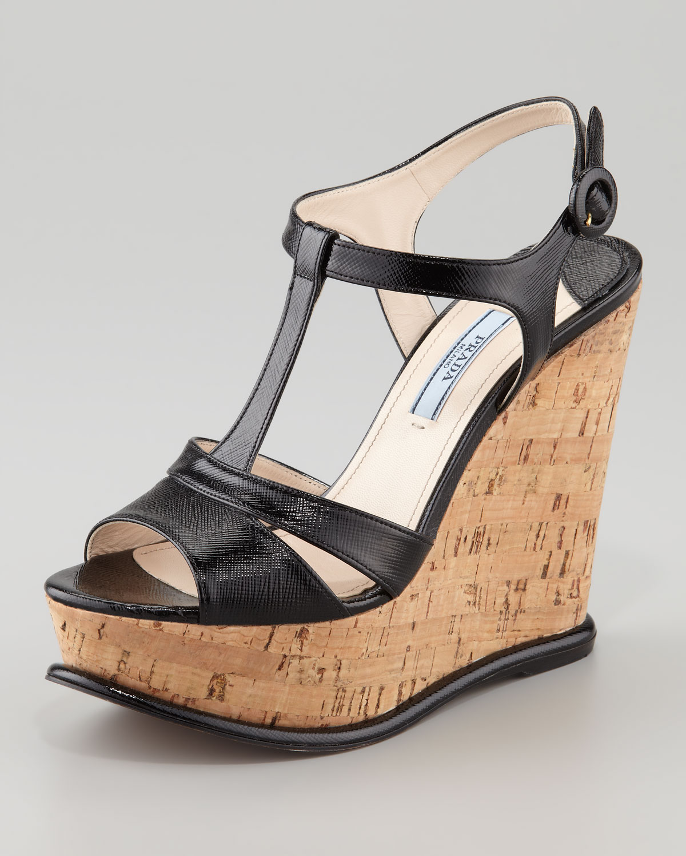 71bb350e420 Lyst - Prada Tstrap Cork Wedge Sandal in Black
