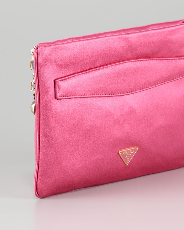 inexpensive lyst prada jeweled satin clutch bag in pink df8de c000b 8abb439f57332