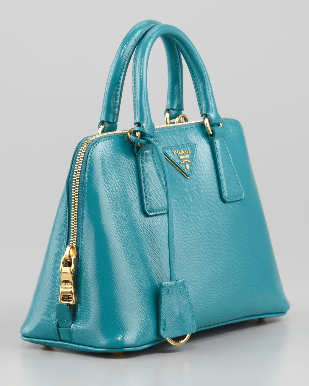 30dec0be8fb3 switzerland prada beautiful teal blue green bag 44c69 8521c  get lyst prada  saffiano micro promenade bag in blue b5070 1b9d9