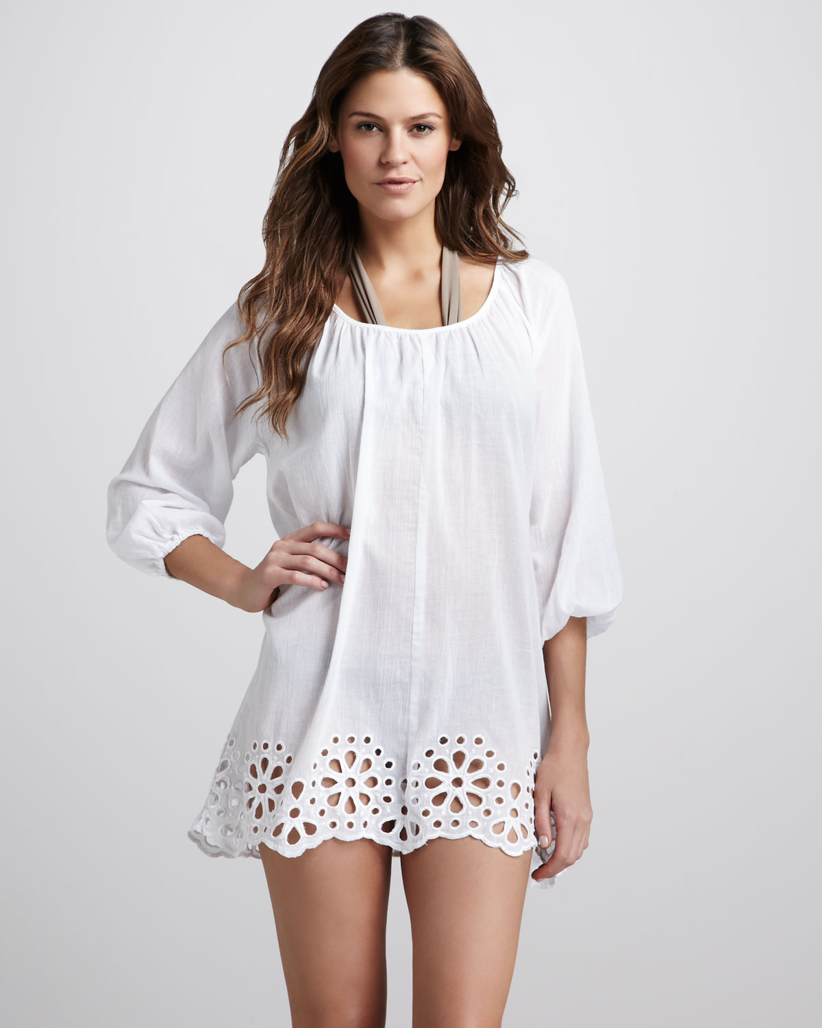 1eb3781d46 Seafolly Satisfaction Eyelet Hem Cover-Up Caftan in White - Lyst