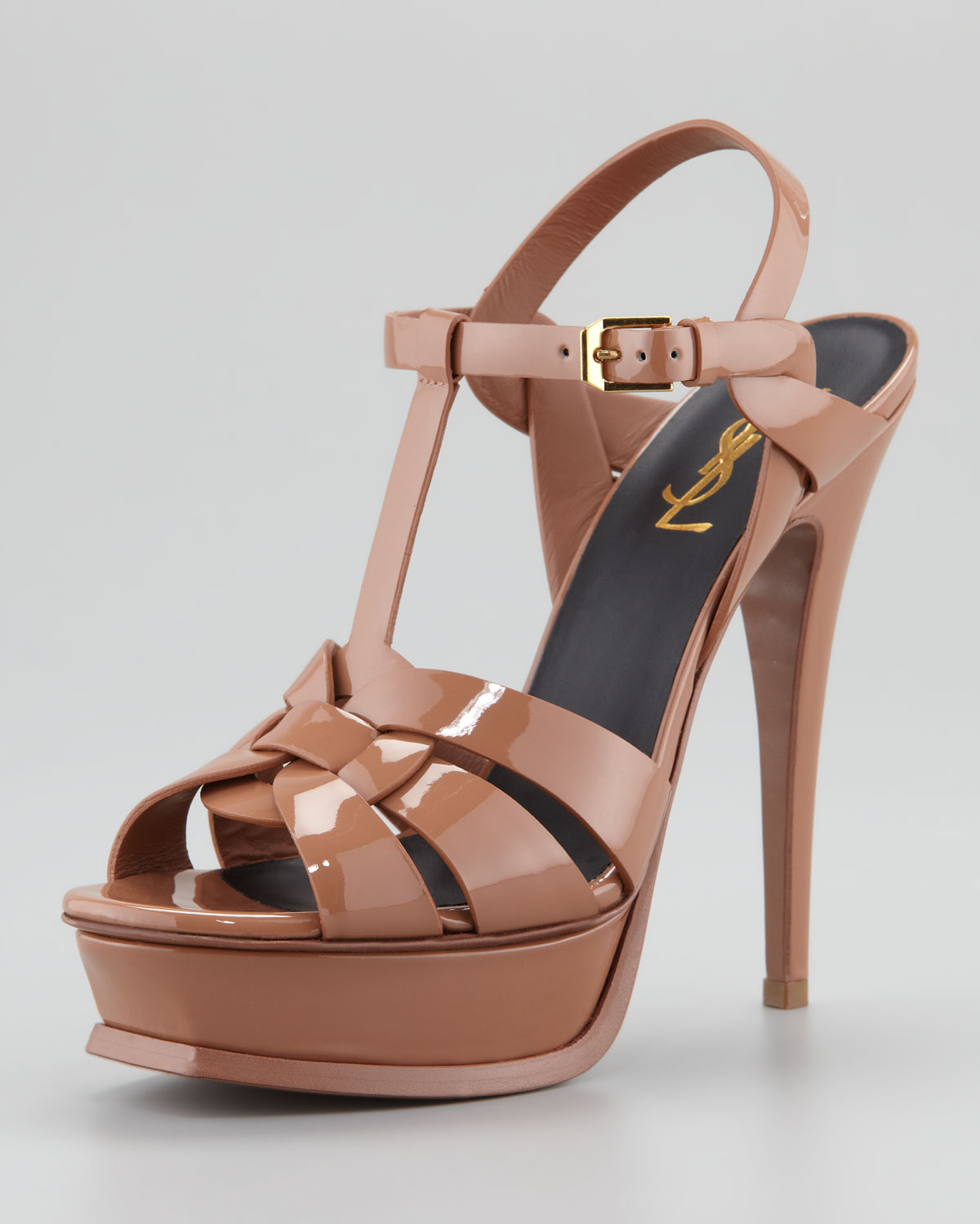 ed6668929 Saint Laurent Tribute Patent Leather Sandal in Brown - Lyst
