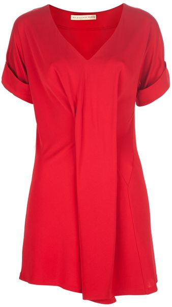 Balenciaga Pleated Dress in Red