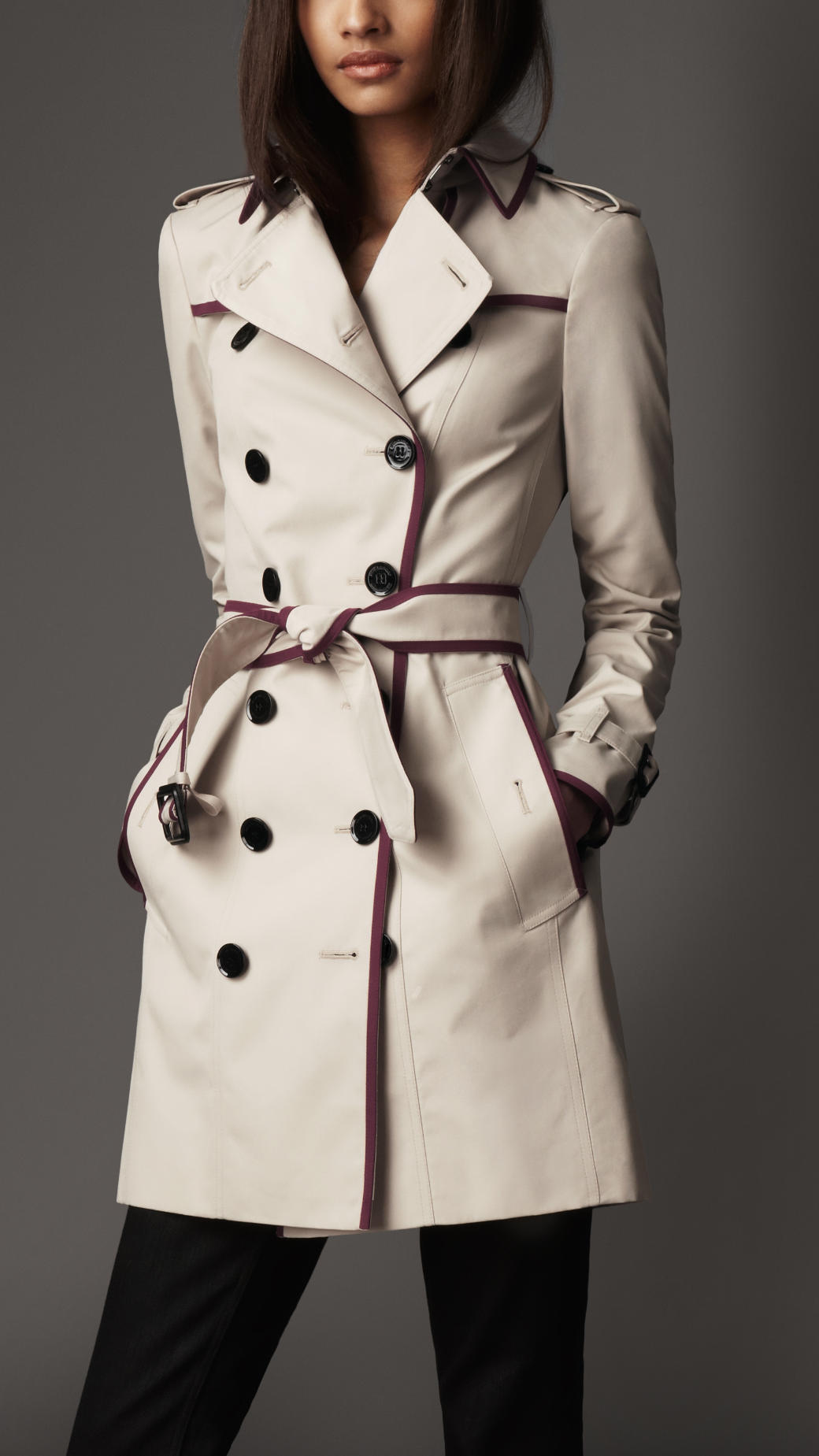 Lyst Burberry Contrast Piping Trench Coat In Natural