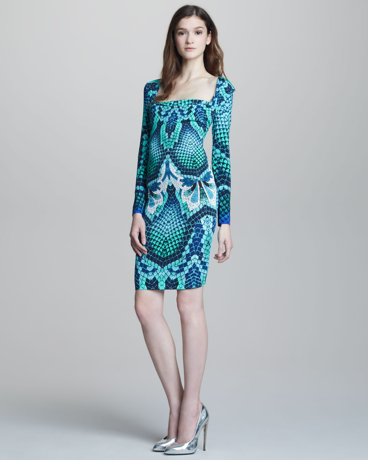 Lyst - Just Cavalli Snake-Print Long-Sleeve Dress in Blue