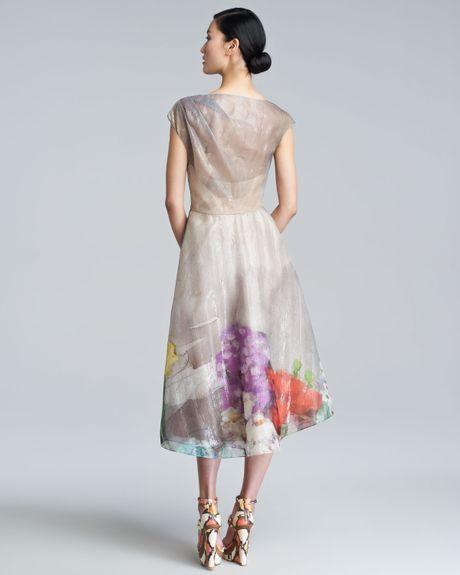 Lela Rose Floral Organza Capsleeve Dress In Multicolor