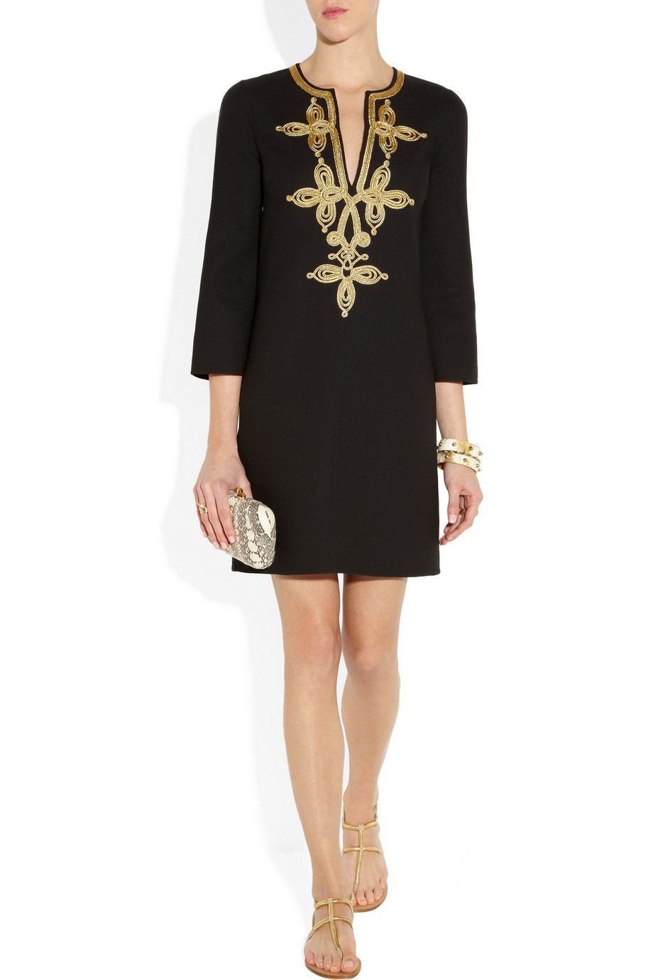 Michael Kors Embroidered Woolcrepe Tunic Dress In Black Lyst