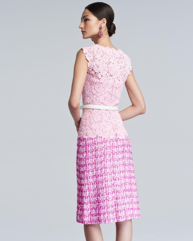 lyst oscar de la renta lace tweed combo dress pink. Black Bedroom Furniture Sets. Home Design Ideas