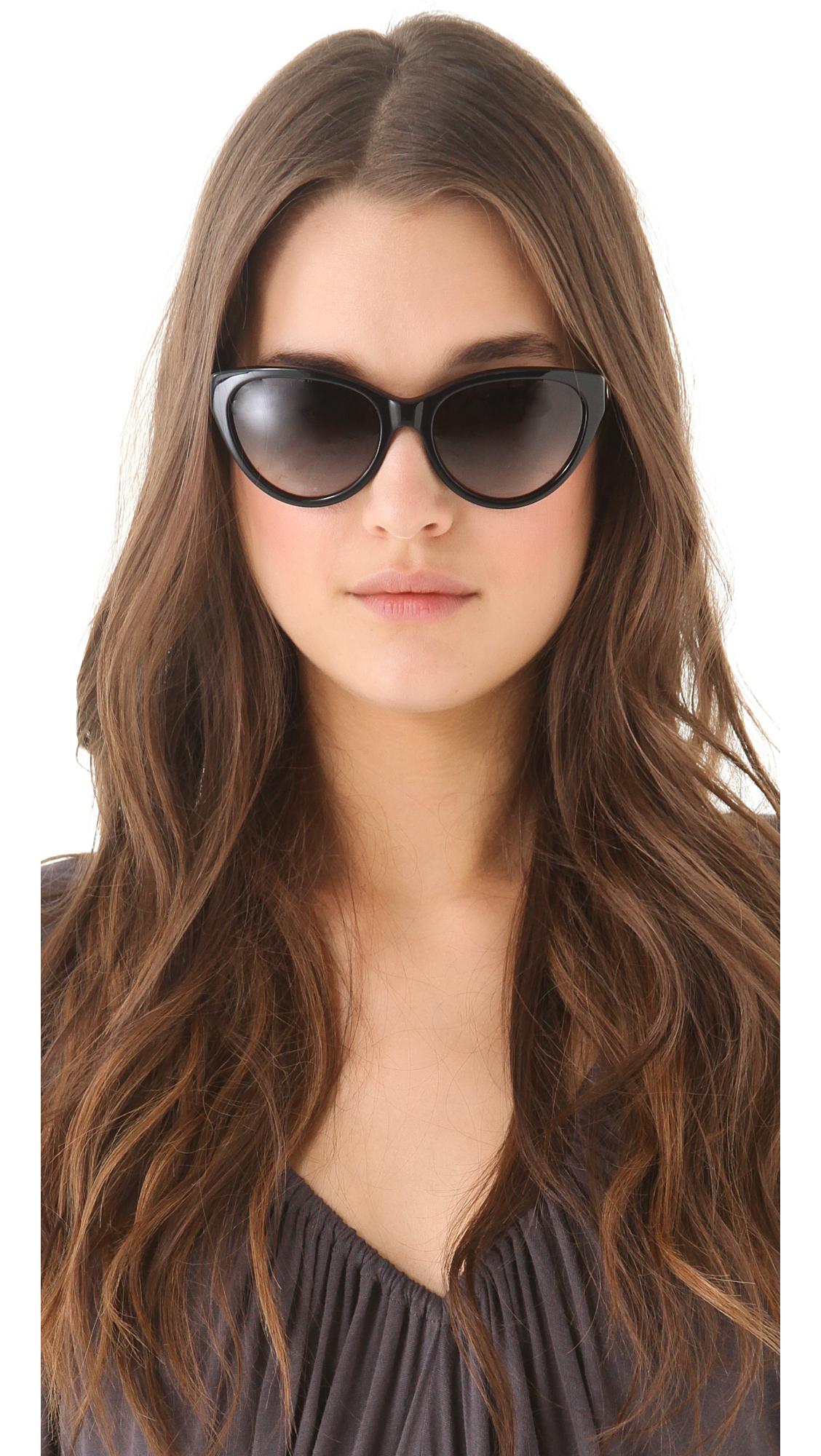 29dc82e33d9 Lyst - Tory Burch Cat Eye Sunglasses in Black