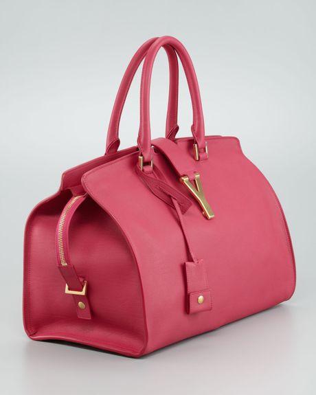 Saint Laurent Cabas Chyc Medium Soft Leather Bag In Pink