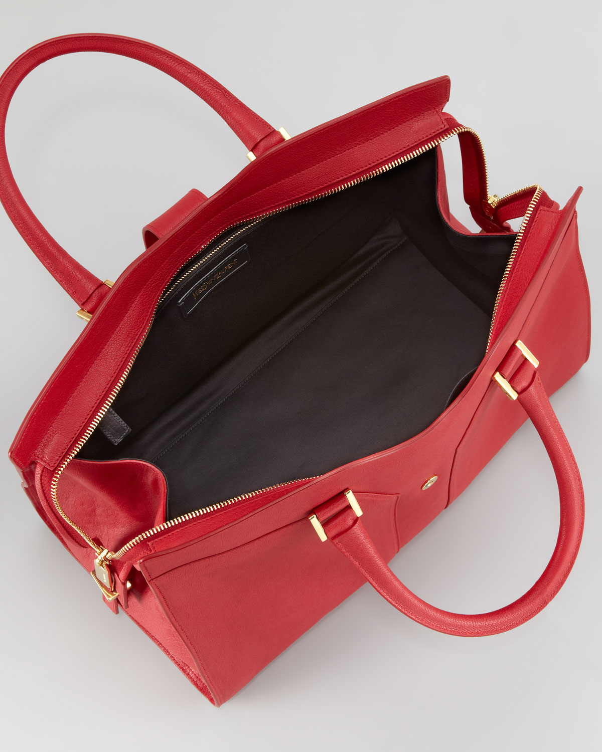 Saint laurent Cabas Chyc Medium Tote Bag in Red (rouge) | Lyst