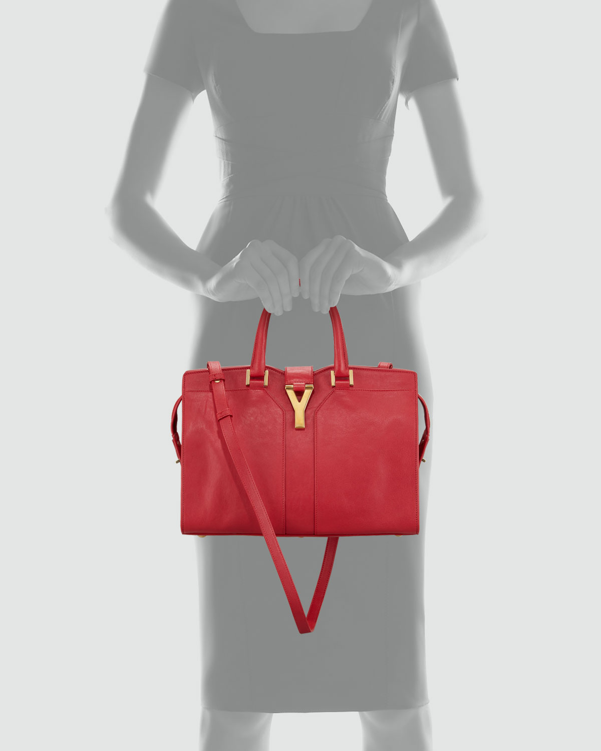 Saint laurent Chyc Mini Tote Bag in Red (rouge) | Lyst