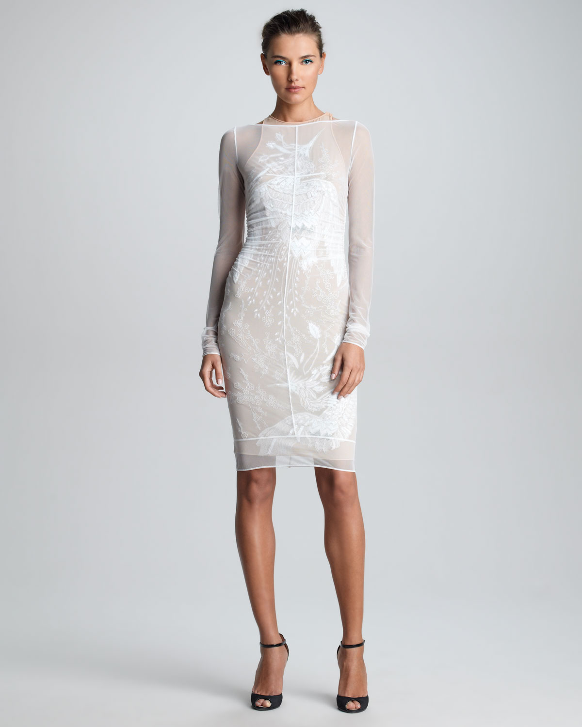 Emilio pucci Sheer Embroidered Dress in White | Lyst