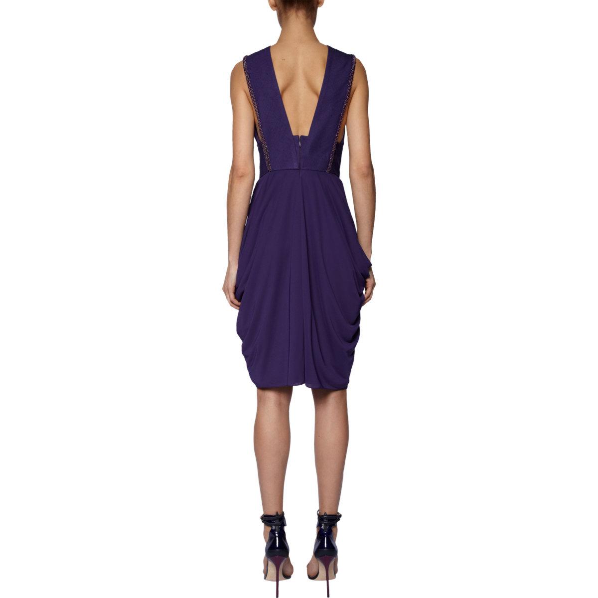 J. Mendel Beaded Halter Dress in Purple -