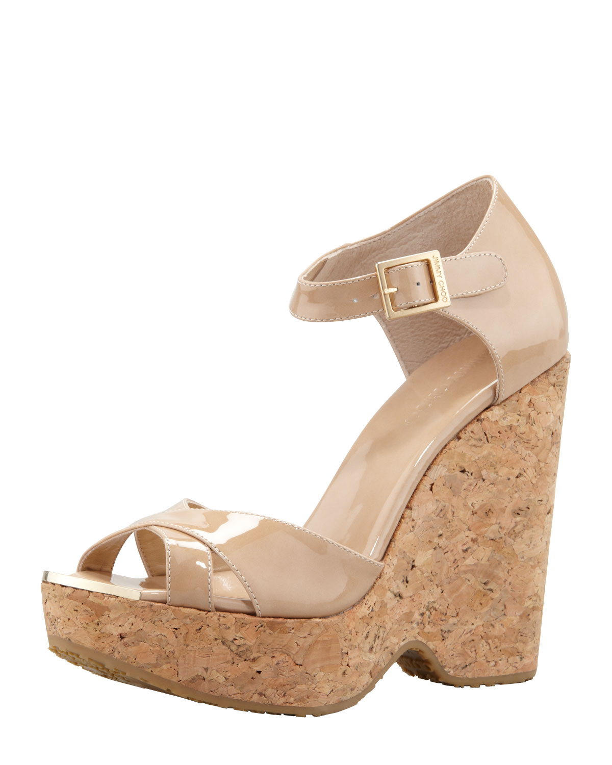 ea58a72d3a55 Lyst - Jimmy Choo Pape Patent Wedge Sandal Nude in Natural