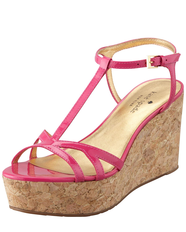 2d6f55d0c050 Lyst - Kate Spade Theodora Cork Wedge Sandal Pink in Pink
