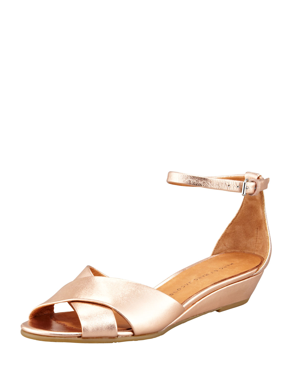 03a1671ea616 Marc By Marc Jacobs Metallic Napa Wedge Sandal Rose Gold in Metallic ...