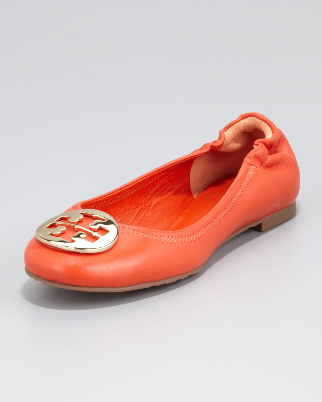 48a2a203dc2d8 Tory Burch Womens Reva Mestico Logo Ballerina Flat Fire Orange in ...