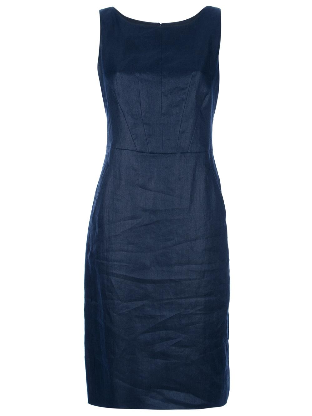 35c1829c340 Armani Linen Shift Dress in Blue - Lyst