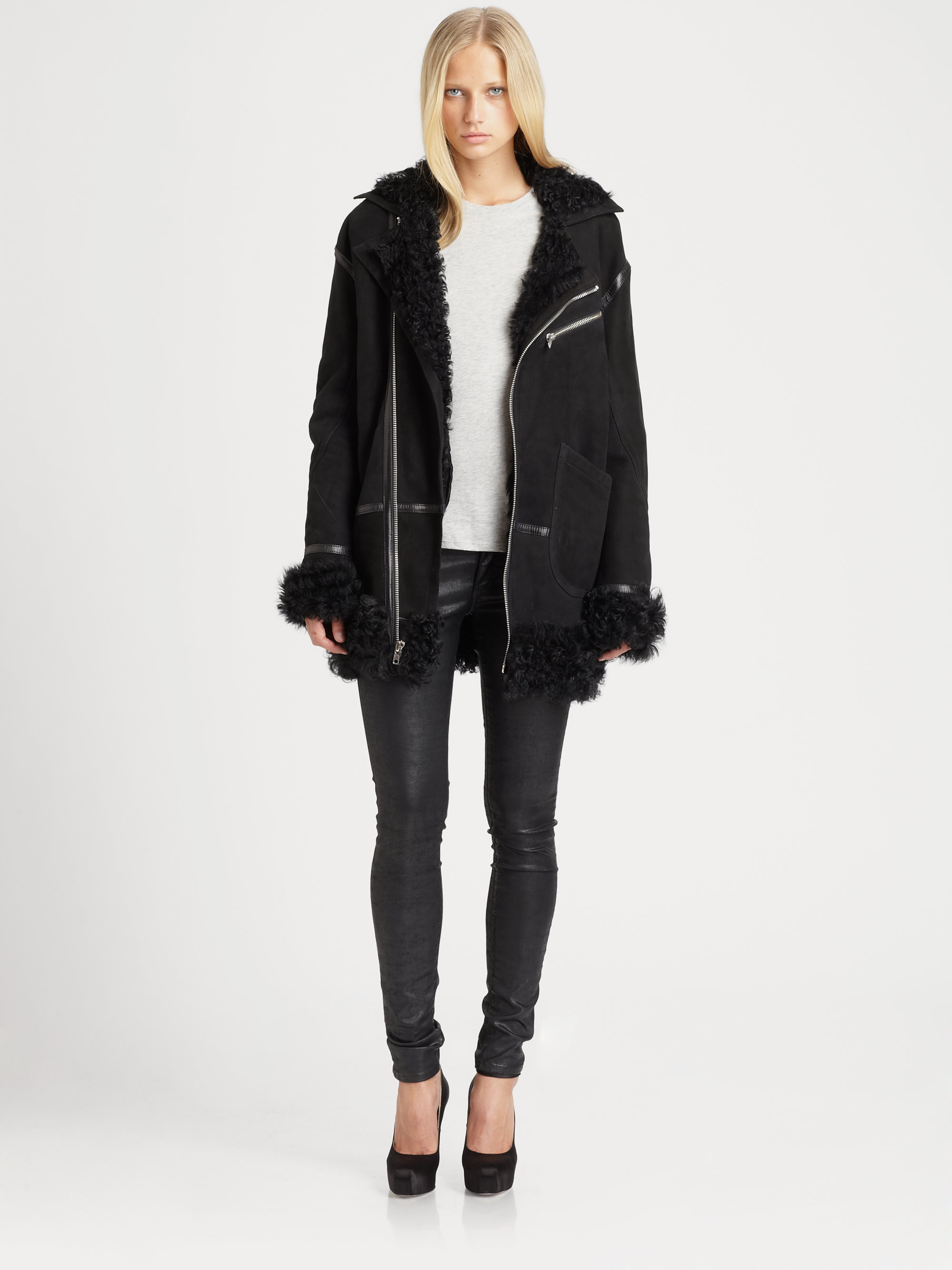 Blk dnm Leather Shearling Jacket in Black | Lyst
