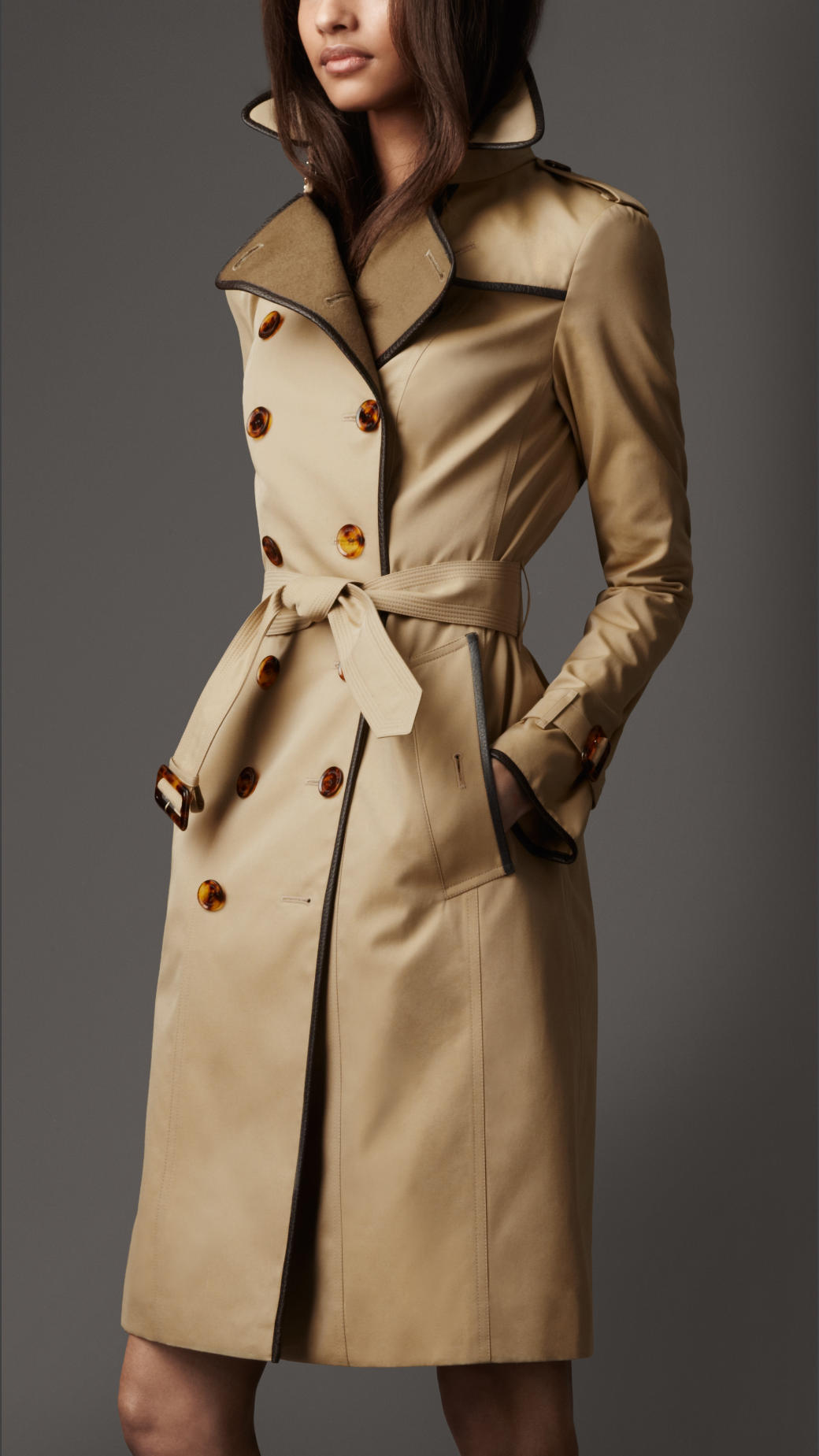 burberry gabardine wool detail trench coat in natural lyst. Black Bedroom Furniture Sets. Home Design Ideas
