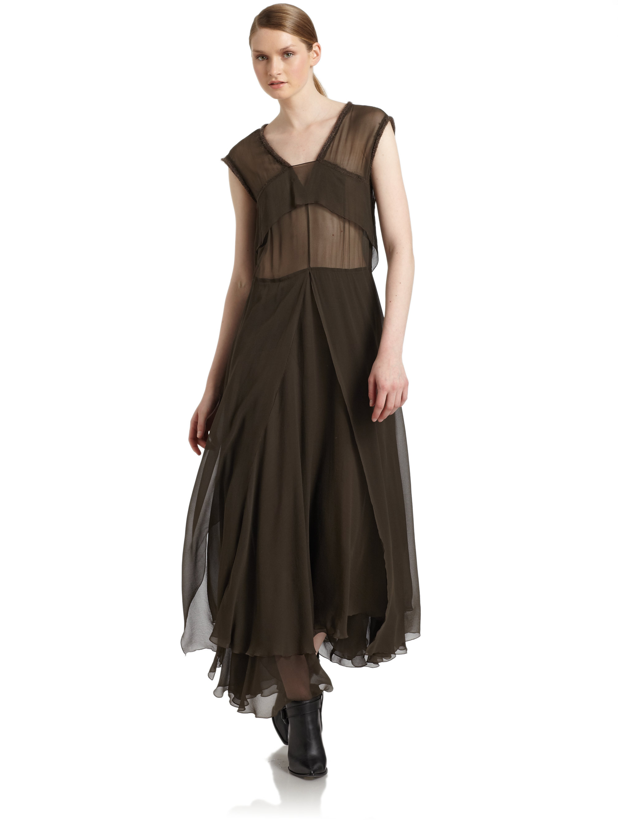 Gallery  sc 1 st  Lyst & Lyst - Costume National Flowing Silk Dress in Brown