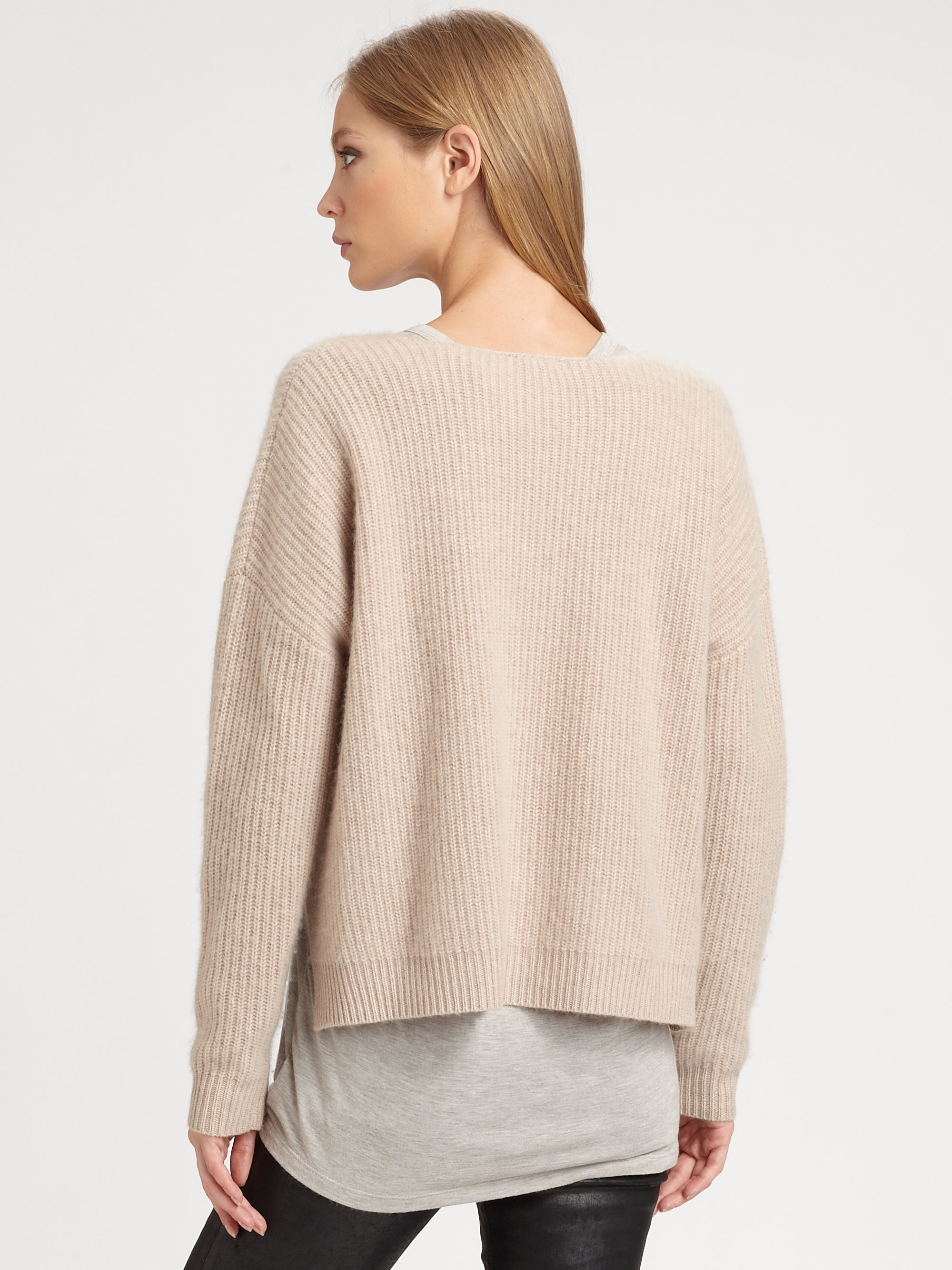 Demylee Alex Ribbed Cashmere Sweater in Natural | Lyst