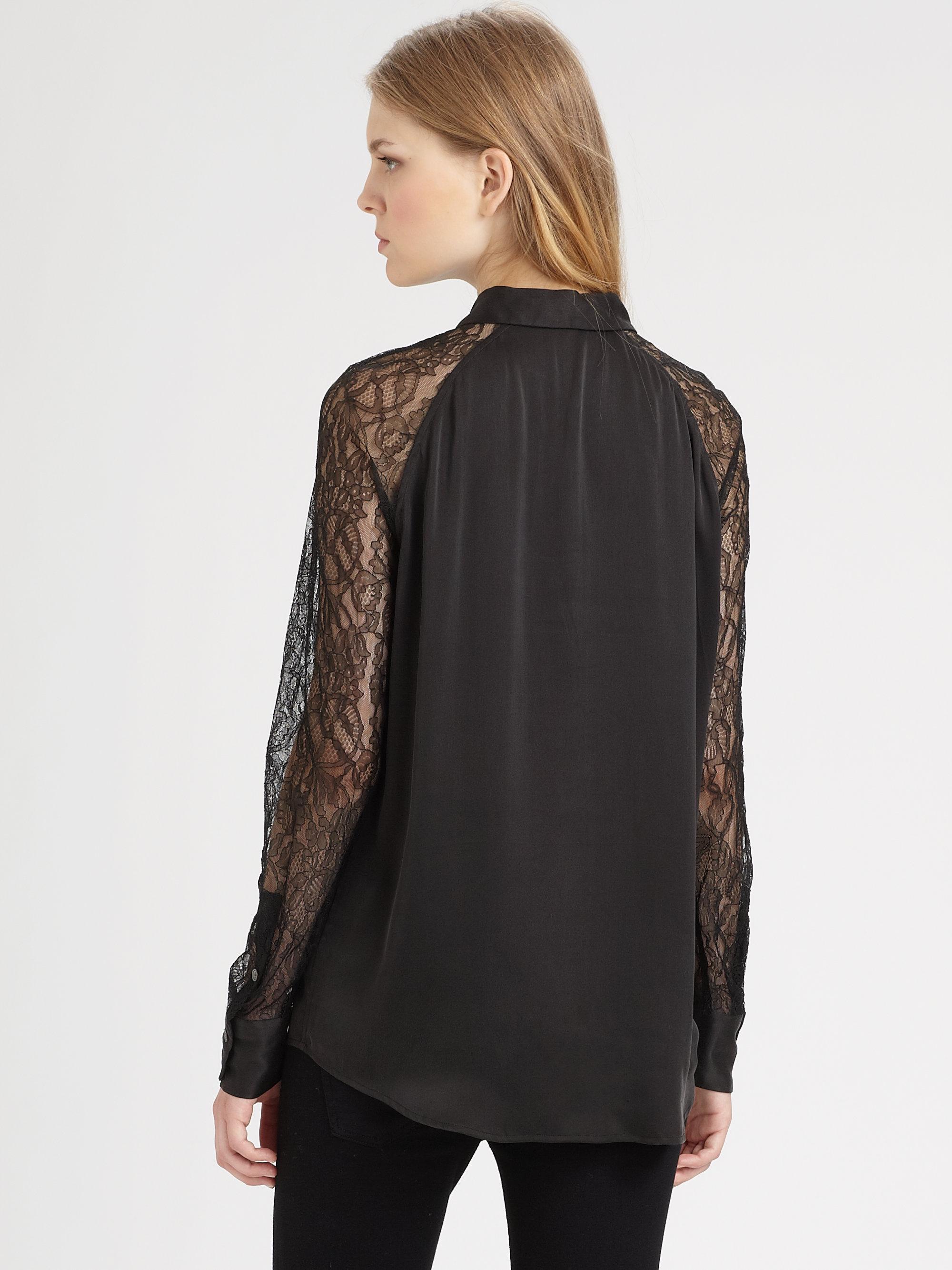 Lyst equipment quinn lacetrim silk shirt in black for Equipment black silk shirt