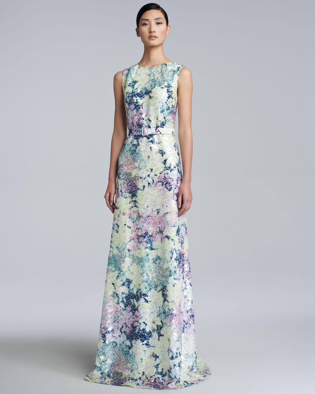 Erdem Jane Long Floral Print Dress In Multicolor Mint