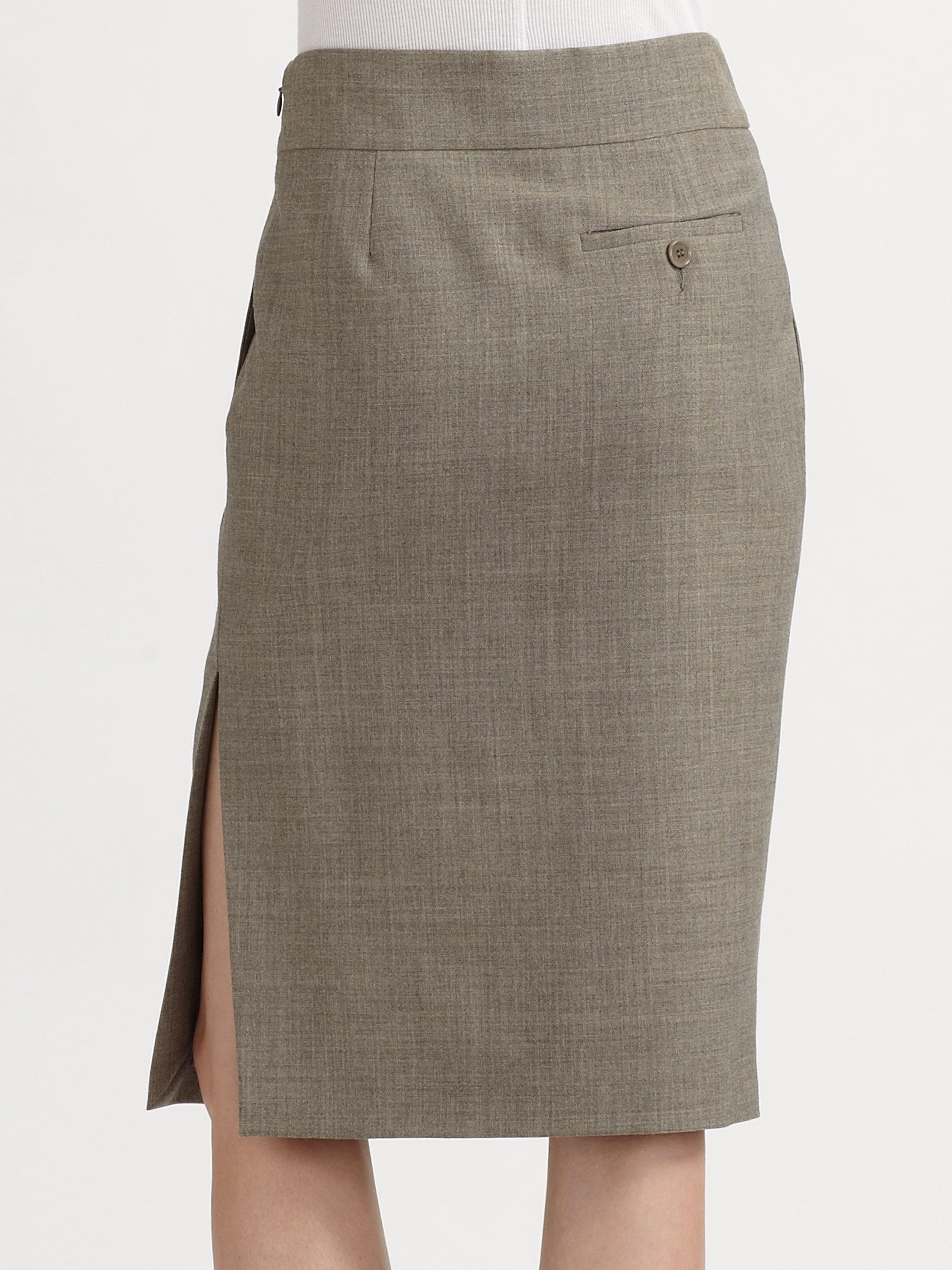 moschino pleated wool blend skirt in khaki grey lyst