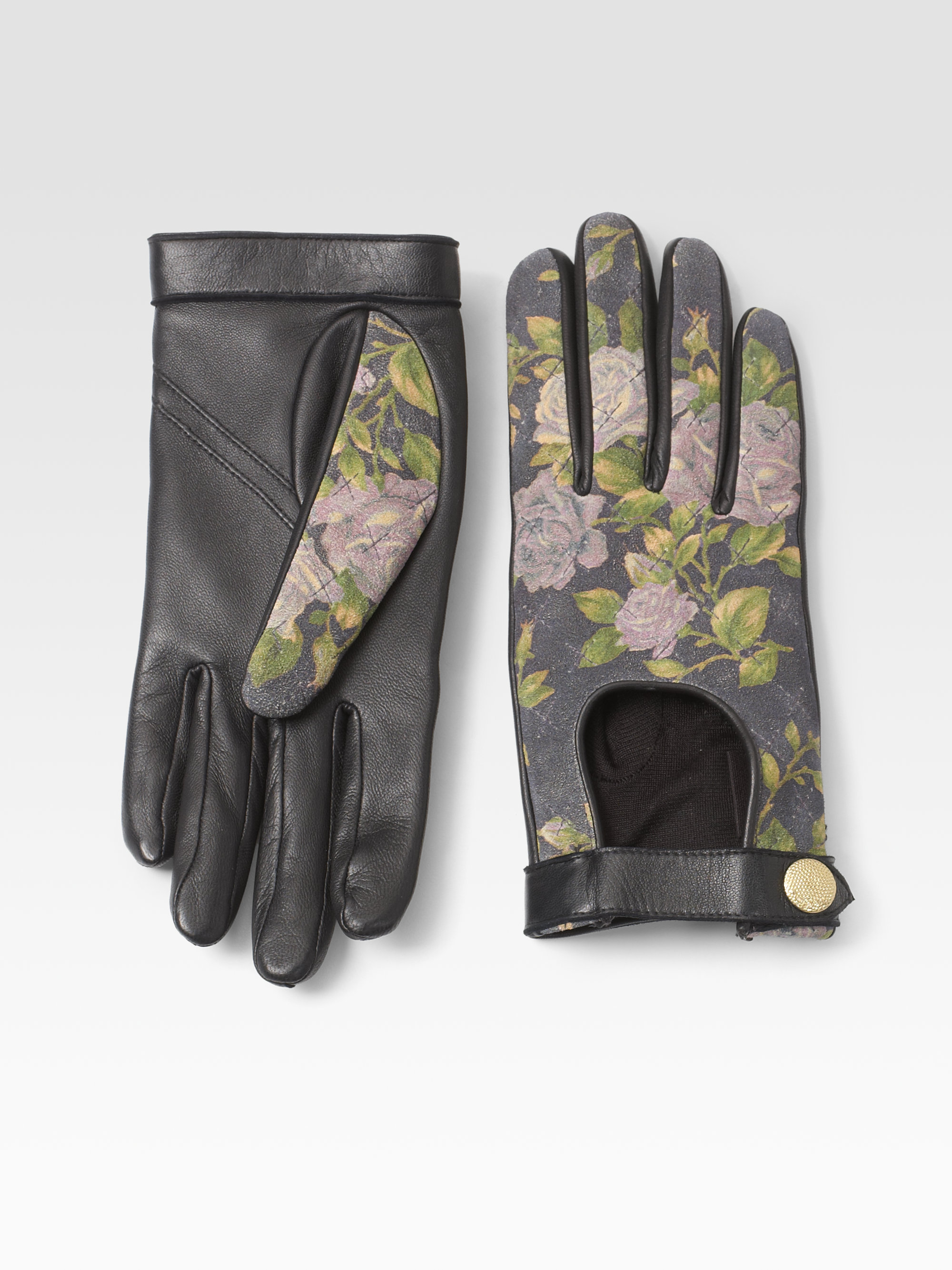 Quilted leather driving gloves -