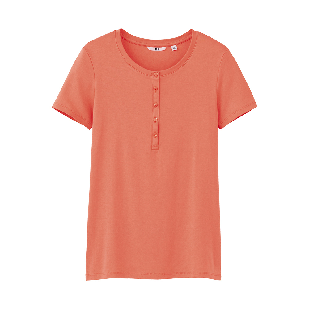 Uniqlo premium cotton henley neck t shirt c in pink for Women s cotton henley shirts