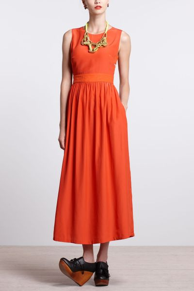 Anthropologie cecil maxi dress in orange red lyst for Anthropologie mural maxi dress