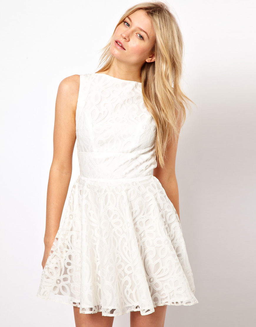 Lyst Asos Lace Full Skirted Dress With Cut Out Back In Black