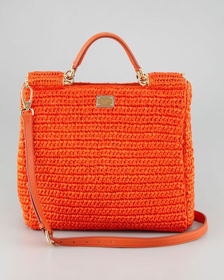 New Crochet Bags : Dolce & Gabbana New Miss Sicily Crochet Tote Bag in Orange Lyst